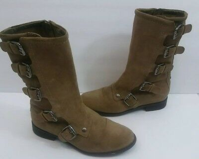 22b537ba206 CYNTHIA VINCENT WOMEN Boots Suede Nibble Ankle Fringe Stacked Heel ...