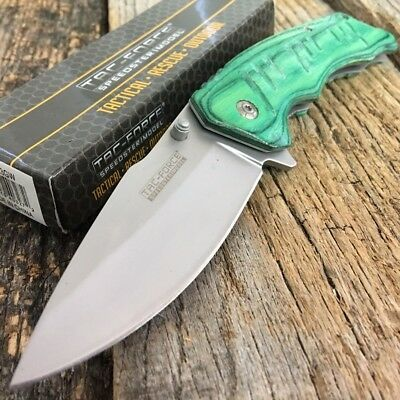TAC-FORCE SPRING ASSISTED TACTICAL KNIFE GREEN WOOD HANDLE WITH POCKET CLIP i