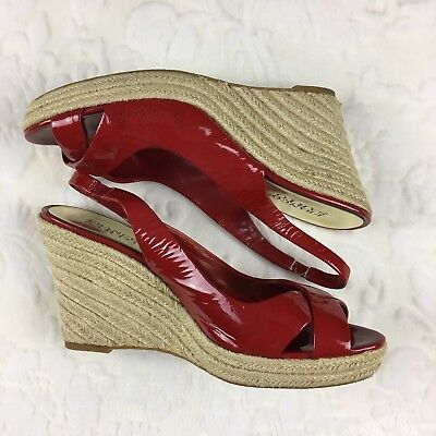 3d2f5aecf690 Franco Sarto Red Patent Espadrilles Wedge Heel Sandals Pinup Shoes 9.5