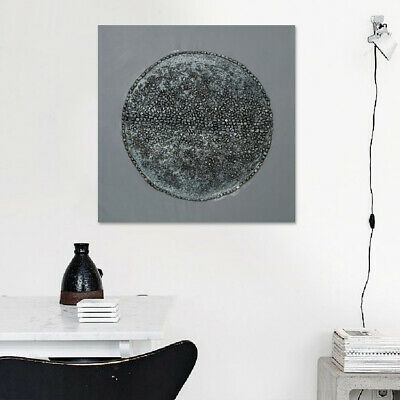 Hand Painted Modern Oil Painting On Canvas Wall Art Decor Framed Silver Circle