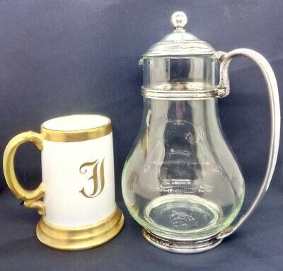 Antique 1920s Silver Glass Coffee Pot & Large French Letter F Porcelain Mug