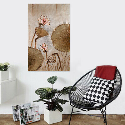Framed Hand Painted Lotus Oil Painting Modern Wall Art Home Decor On Canvas