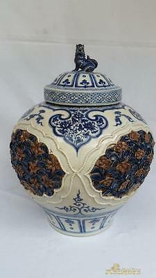 Antique Chinese Blue and White Porcelain Vase Imperial L. Yuan - Ming China Jar