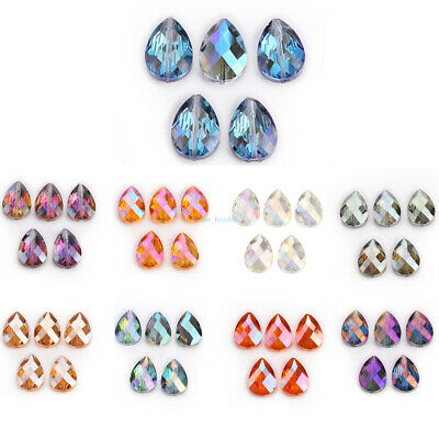 10 Glass Crystal Teardrop Spacer Beads Necklace Earring Jewelery Making 18 24mm