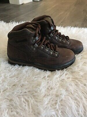 9c74b710700 TIMBERLAND HERITAGE EURO Hiking Leather Boots Vintage 90's Brown Lace Up  7.5 M