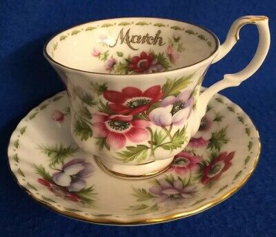 Royal Albert Flower Of The Month Tea Cup & Saucer Set MARCH - Anemones