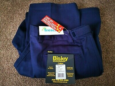 92R NAVY Bisley Workwear Men's 8 Pocket Cargo Pant Flat Front NEW WITH TAGS