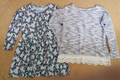 2 x Girls Long Sleeve Tops  Age 9-10 years (Next and Bluezoo)