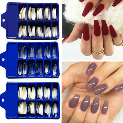 100Pcs Professional Fake Nails Long Ballerina Half French Acrylic Nail Tips Kits