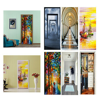 2pcs Vinyl 3D Door Wall Sticker Wrap Mural Self Adhesive DIY Home Decor #13