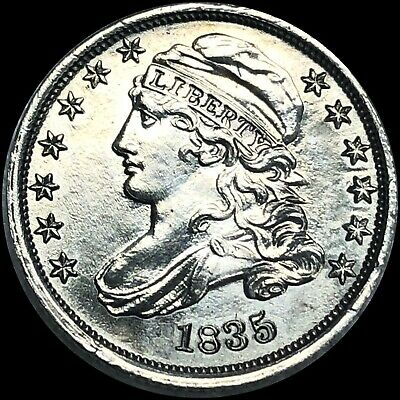 """1835 Crusty Old """"Capped Bust Dime"""" Near Unc AU? Silver 10c  free s/h No Reserve!"""
