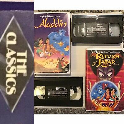 RARE DISNEY VHS Tapes (2) 'Black Diamond' Classic Aladdin, & The Return Of Jafar