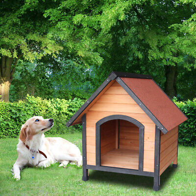 Dog House Pet Outdoor Bed Wood Shelter Home Weather Kennel Waterproof