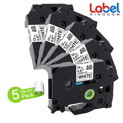 5 PK 12mm TZ231 TZe-231 Black on White Compatible for Brother P-Touch Lable Tape