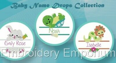 Baby Name Drops Collection  - Machine Embroidery Designs On Cd Or Usb