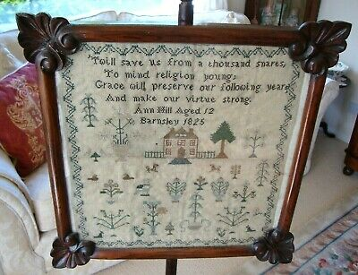 ANTIQUE 19th C. GEORGIAN 1825 SAMPLER NEEDLEWORK FRAMED UNDER GLASS POLE SCREEN