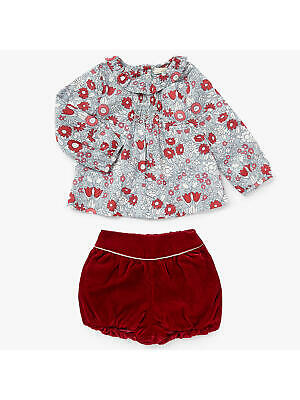 John Lewis Heirloom Collection Baby Daisy Chain Top / Red 12-18 Mths Brand New