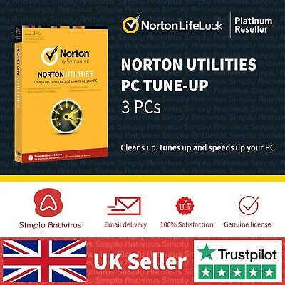 Norton Utilities PC Tune-Up v16.0 2019 - 3 PC's - Delivery by Email