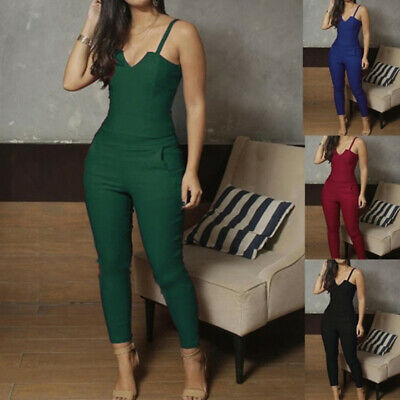 Ladies Romper Tight-fitting Sling Jumpsuit Fashion Bodycon Casual Trousers 6A