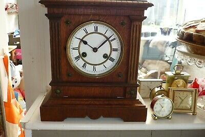 Antique Ceramic Faced Striking Mantle Clock And Key