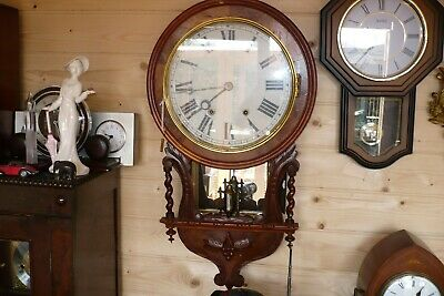 Antique American Library Wall Clock And Original Key