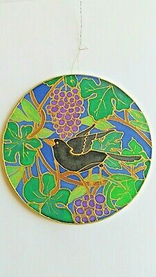 Hand-painted Silk Sun catcher 15cm Across - Blackbird, one-off.