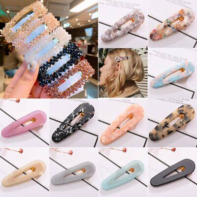 Fashion Womens Girl  Hair Slide Clip Snap Barrette Hairpin Pins Hair Accessories