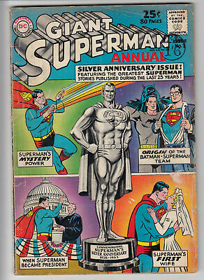 GIANT SUPERMAN  ANNUAL V1 # 7   VG+ / VG  25 cents  1963  D C AMERICAN COMICS  A