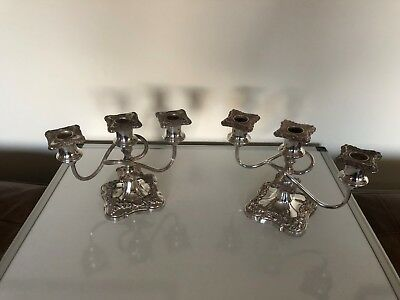 "Beautiful Pair Of Heavy Victorian Silver Plated Candelabra  6"" Tall"