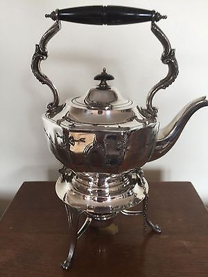 Lovely Silver Plated Spirit Kettle, Stand And Burner (M & Co)
