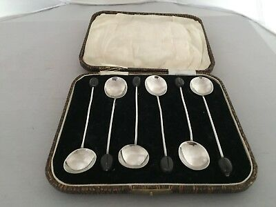 Lovely Set Of 6 Solid Silver Black Coffee Bean Spoons (Birmingham 1925)