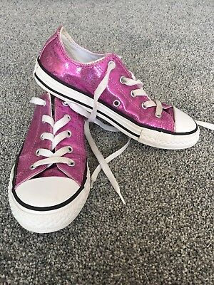 d4bc01b932e0 Girls Pink Glitter Converse All Star Low Trainers Uk Size 1. Excellent  Condition