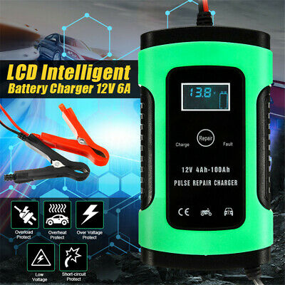 Car Battery Charger 12V 6A LCD Intelligent Automobile Motorcycle Pulse Repair