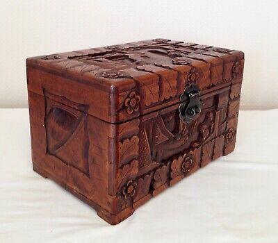 Carved Oriental  Document Box  Chinese Trinket Box 7.5 Ins Tall