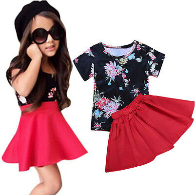 2PCS Kids Baby Girls Floral Dress Outfit Tops T-Shirt+Tutu Skirt Set Clothes