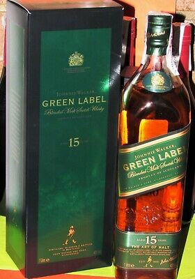 Johnnie Walker Green Label 15yo Blended Malt Scotch Whisky 1L, 43% Vol with Box