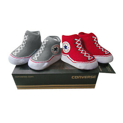Converse Chuck Taylor Red/Grey Baby Sock/Bootie set -0/6 months BNWTS