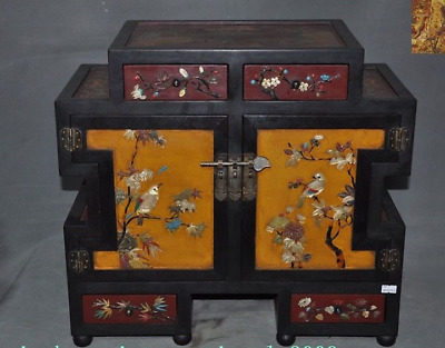 Chinese lacquerware Red Wood Inlay shell flower bird Cabinet Storage Chest box