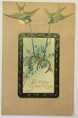 PostCard Birthday Greetings Iowa Posted w/Stamp Lucky Horseshoe 1908 Vintage