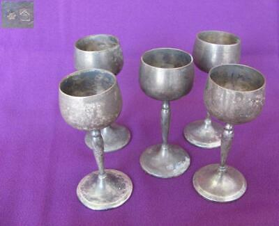 Antique German Set Of Five Silver Plated Cups Marked Wmf