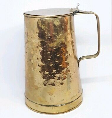 Vintage Hookham & Sons Birmingham Arts & Crafts Hammered Brass Lidded Jug