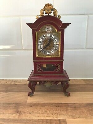 Vintage Miniature Schmid 8 Day Chiming Longcase Grandfather Clock with Pendulum