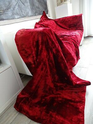 2 French antiques curtains hangings red silk velvet 19th-century