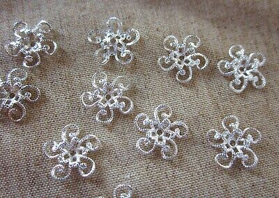 10 Silver Plated Bead Caps Embellishments Scrapbooking 13mm Brass Stamping #2421