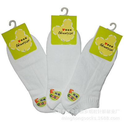 3 pairs Kids Crew White Ankle Socks student Boy Girl 3-5 6-8 9-11 12 years
