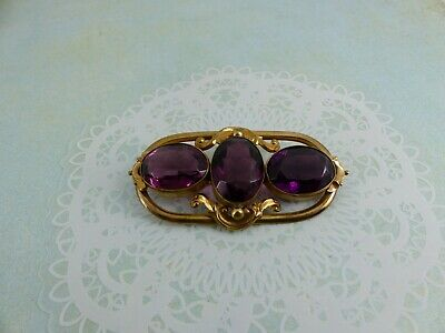 Large Antique Gold Plated Amethyst Colour Stone Brooch