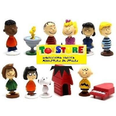 Peanuts Set 12 Personaggi Action Figure Snoopy Charly Brown And Friend Italia