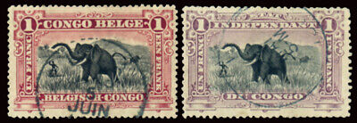 BELGIAN CONGO 1894-1900 1 F. TWO COLORS (Yv. 26, 26a) USED