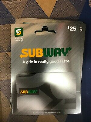 Two Subway gift card $25.00 each Total value $50 - brand new with free shipping