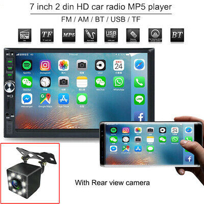 """7"""" Double Din HD Car MP5 Player Apple Bluetooth Stereo Radio Mirror Link +Camera"""